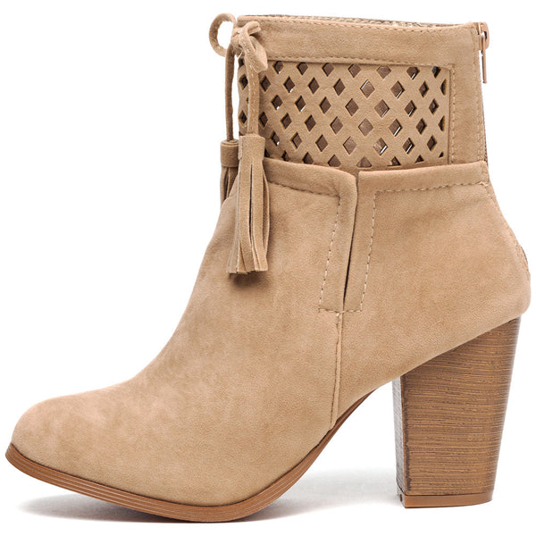 A Cut Above Beige Faux Suede Bootie - Citi Trends Shoes - Side