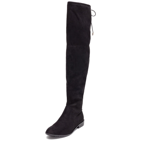 Fit To Be Tied Black Faux Suede Thigh-High Boot - Citi Trends Shoes - Front