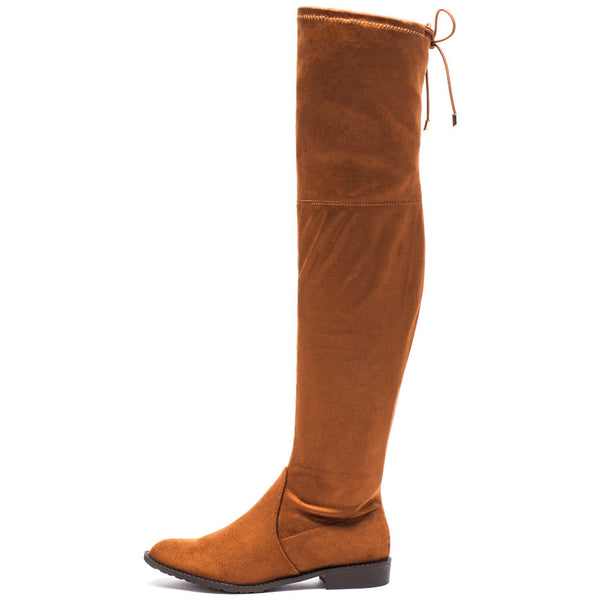 Fit To Be Tied Rust Faux Suede Thigh-High Boot - Citi Trends Shoes - Side