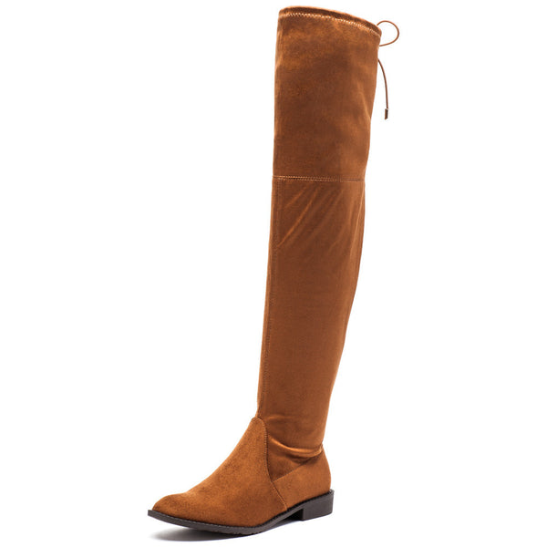 Fit To Be Tied Rust Faux Suede Thigh-High Boot - Citi Trends Shoes - Front