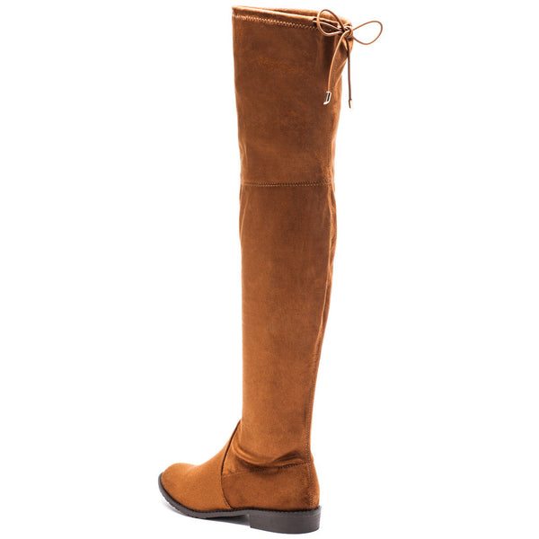 Fit To Be Tied Rust Faux Suede Thigh-High Boot - Citi Trends Shoes - Back