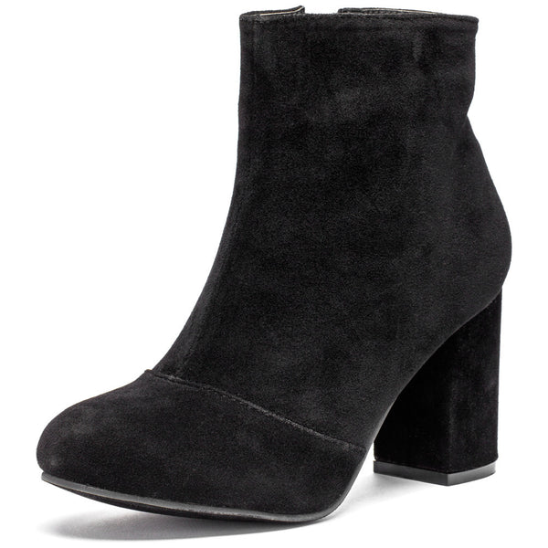 No Doubt About It Black Faux Suede Bootie - Citi Trends Shoes - Front