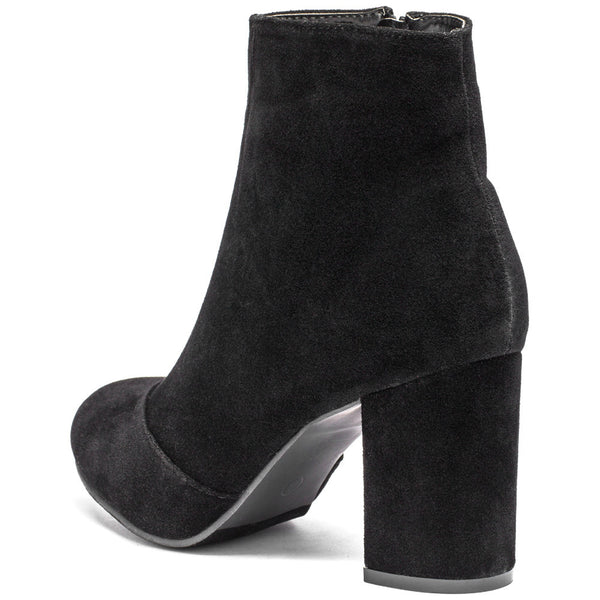 No Doubt About It Black Faux Suede Bootie - Citi Trends Shoes - Back