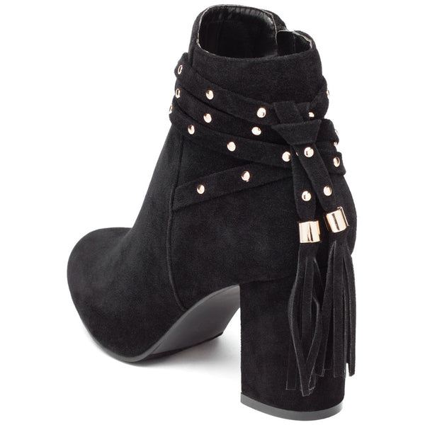 Tail End Black Faux Suede Studded Bootie - Cit Trends Shoes - Back
