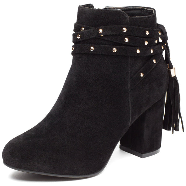 Tail End Black Faux Suede Studded Bootie - Cit Trends Shoes - Front