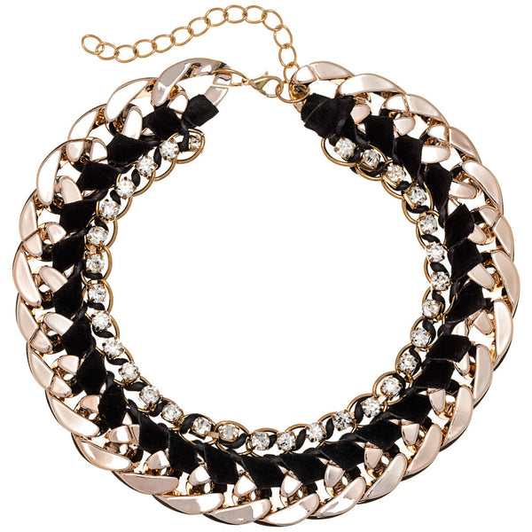 Beweave It Or Not Black/Gold Chain Necklace - Citi Trends Accessories - Front