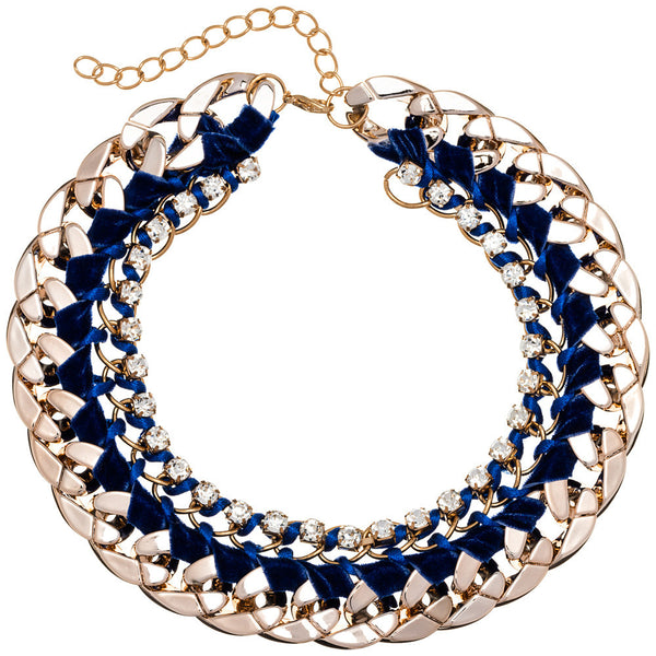 Beweave It Or Not Blue/Gold Chain Necklace - Citi Trends Accessories - Front
