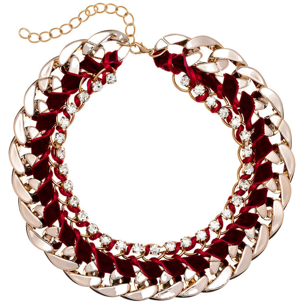 Beweave It Or Not Burgundy/Gold Chain Necklace - Citi Trends Accessories - Front