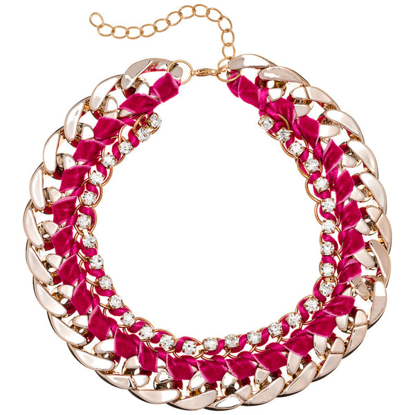 Beweave It Or Not Fuchsia/Gold Chain Necklace - Citi Trends Accessories - Front