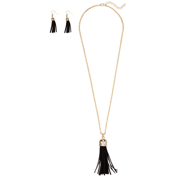 Keep Your Fringe Close Black Necklace And Earring Set - Citi Trends Accessories - Front