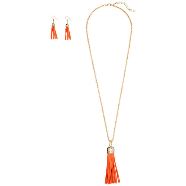 Keep Your Fringe Close Orange Necklace And Earring Set - Citi Trends Accessories - Front