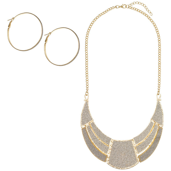 Glitter Goals Gold Necklace And Hoop Earring Set - City Trends Accessories - Front