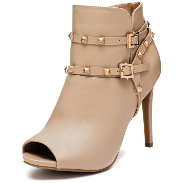 The Studded Stunner Nude Peep-Toe Bootie - Citi Trends Shoes - Front