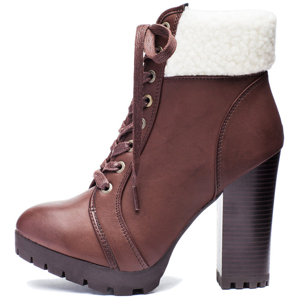 Globe-Trotter Brown Lace-Up Bootie With Shearling Cuff - Citi Trends Shoes - Side