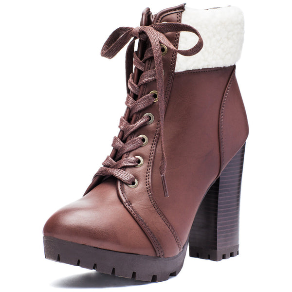 Globe-Trotter Brown Lace-Up Bootie With Shearling Cuff - Citi Trends Shoes - Front