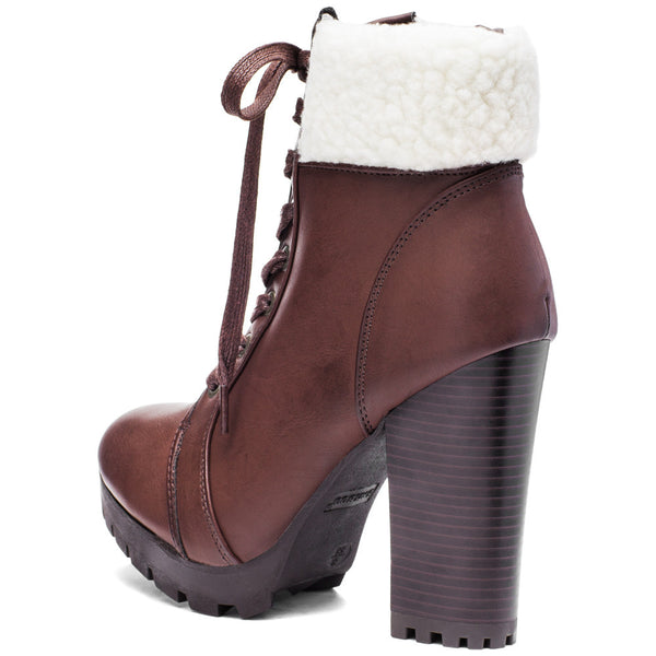 Globe-Trotter Brown Lace-Up Bootie With Shearling Cuff - Citi Trends Shoes - Back