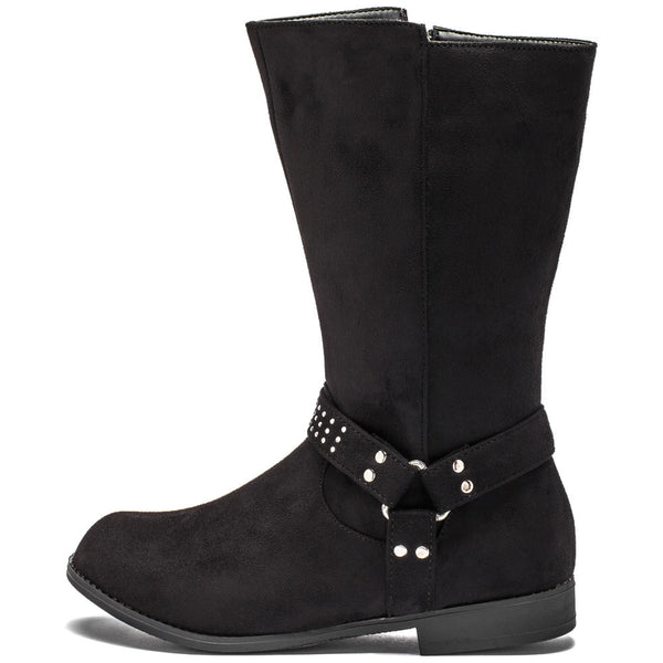 Studded Steps Girls Black Faux Suede Moto Boot - Citi Trends Girls - Side