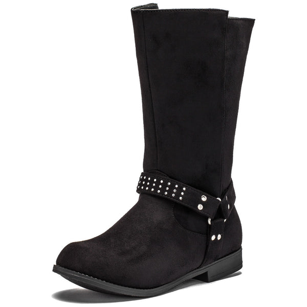 Studded Steps Girls Black Faux Suede Moto Boot - Citi Trends Girls - Front
