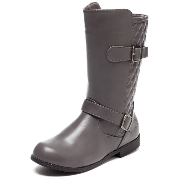 Quilt While Your Ahead Grey Moto Boot - Citi Trends Girls - Front