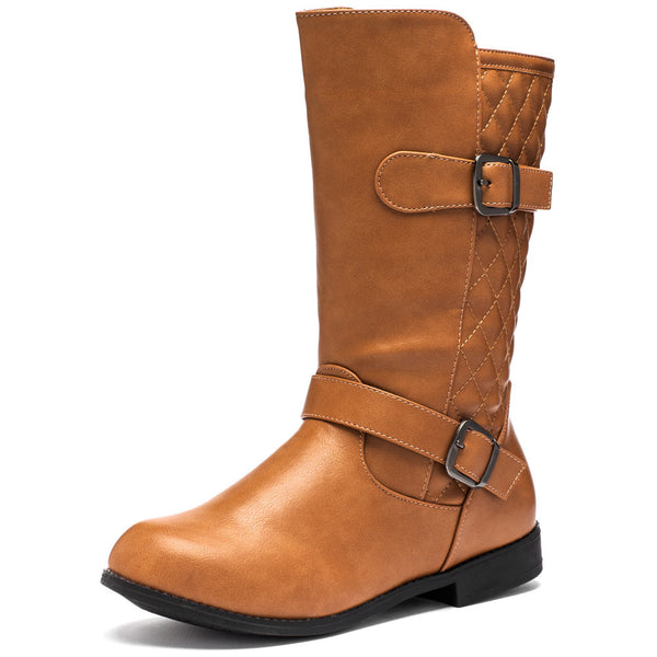 Quilt While Your Ahead Tan Moto Boot - Citi Trends Girls - Front