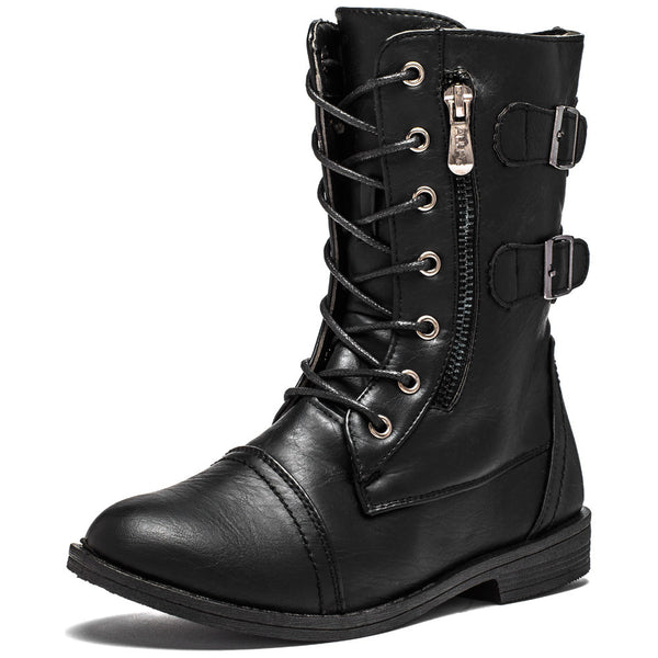 Buckle Bound Girls Black Combat Boot - Citi Trends Girls - Front