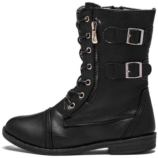 Buckle Bound Girls Black Combat Boot - Citi Trends Girls - Side