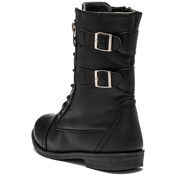 Buckle Bound Girls Black Combat Boot - Citi Trends Girls - Back