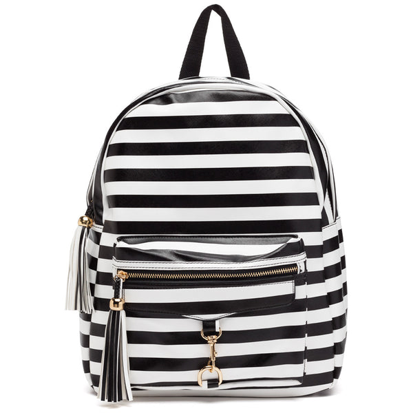Style On The Move Black/White Striped Backpack - Citi Trends Accessories - Front