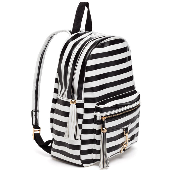 Style On The Move Black/White Striped Backpack - Citi Trends Accessories - Side