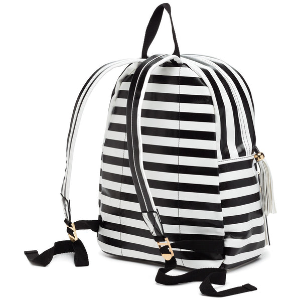 Style On The Move Black/White Striped Backpack - Citi Trends Accessories - Back
