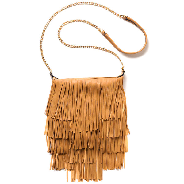 Fringe With Benefits Tan Chain-Strap Crossbody - Citi Trends Accessories - Front