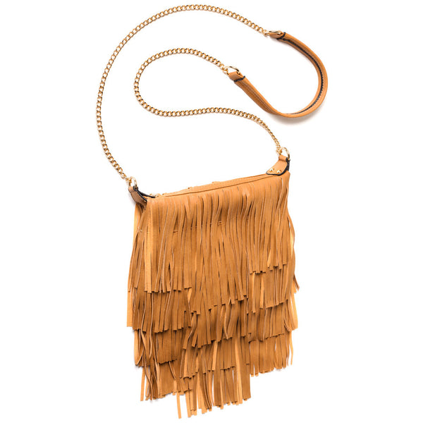 Fringe With Benefits Tan Chain-Strap Crossbody - Citi Trends Accessories - Side