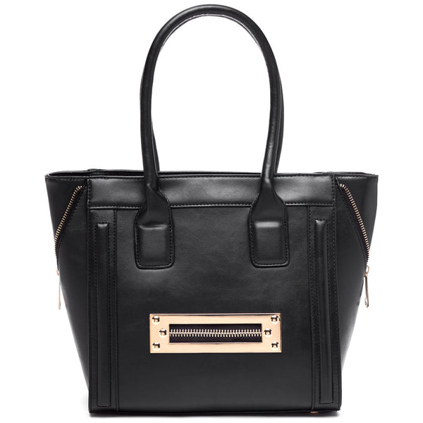 Zip Along Black Tote - Citi Trends Accessories - Front