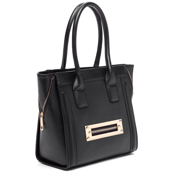 Zip Along Black Tote - Citi Trends Accessories - Side