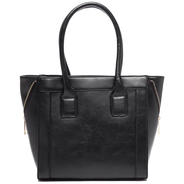 Zip Along Black Tote - Citi Trends Accessories - Back