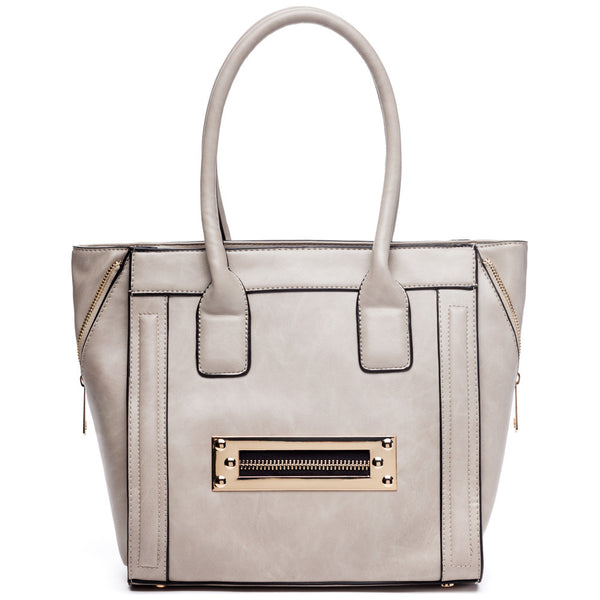 Zip Along Grey Tote - Citi Trends Accessories - Front