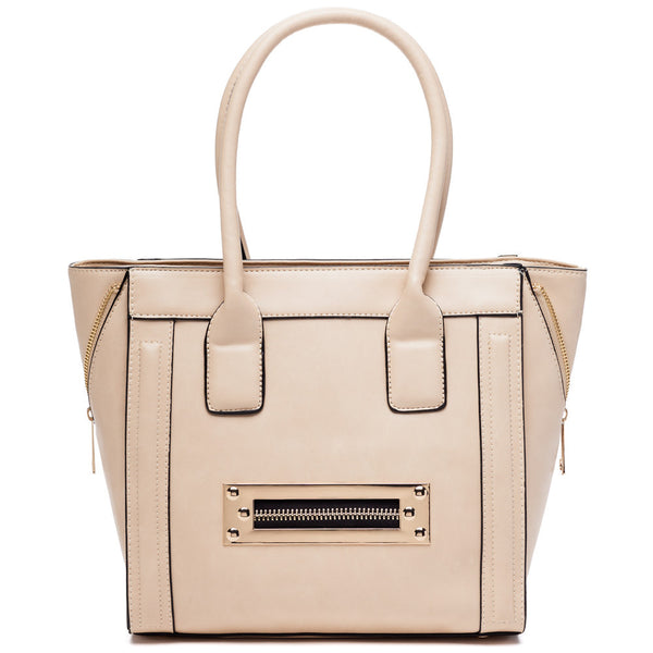Zip Along Beige Tote - Citi Trends Accessories - Front