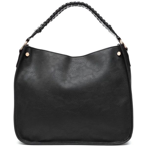 Braided Beauty Black Hobo Bag - Citi Trends Accessories - Front