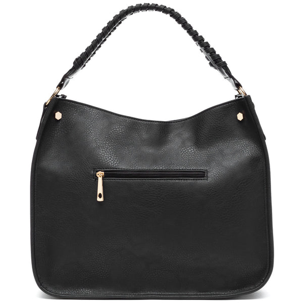 Braided Beauty Black Hobo Bag - Citi Trends Accessories - Back