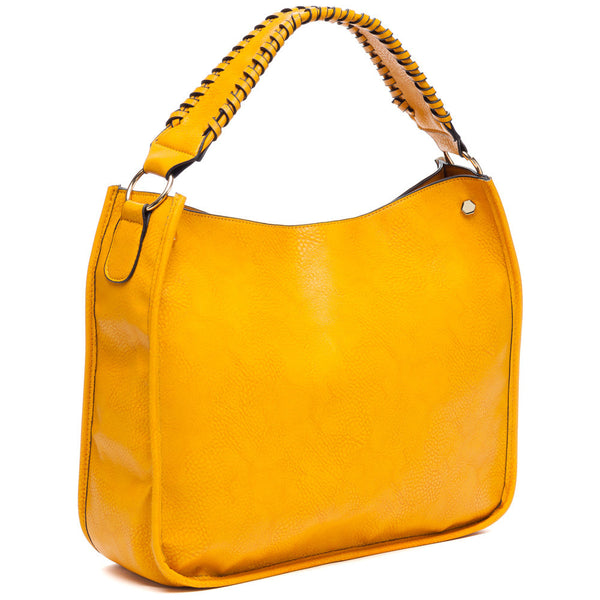 Braided Beauty Mustard Hobo Bag - Citi Trends Accessories - Side