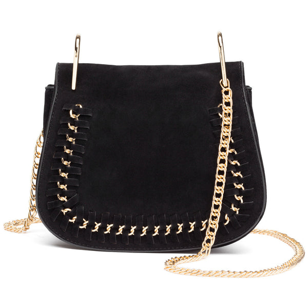 In The Loop Black Faux Suede Crossbody - Citi Trends Accessories - Front