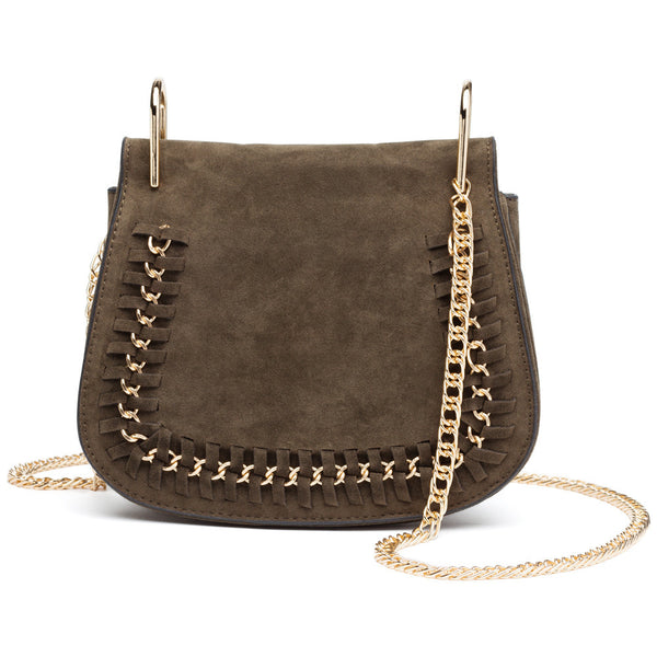 In The Loop Olive Faux Suede Crossbody - Citi Trends Accessories - Front