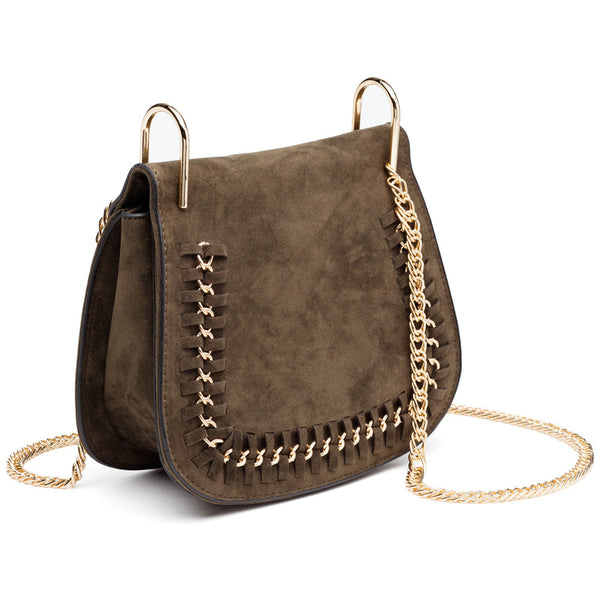 In The Loop Olive Faux Suede Crossbody - Citi Trends Accessories - Side