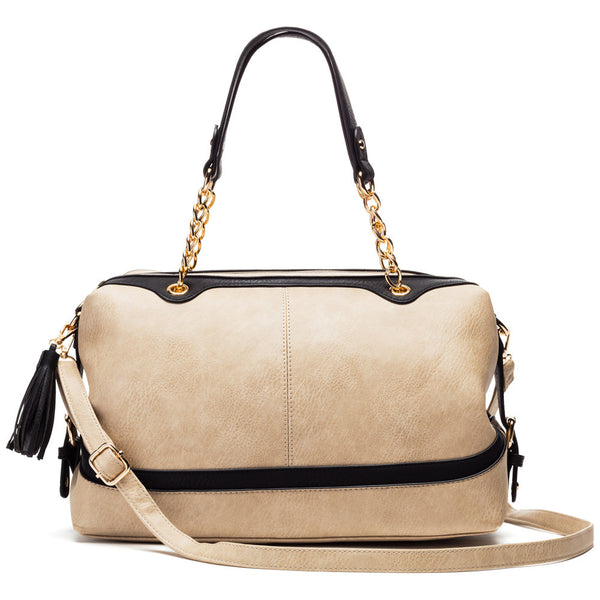 Femme Fabulous Nude/Black Speedy Satchel - Citi Trends Accessories - Front