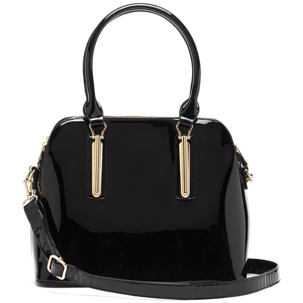 Minimalist Chic Black Faux Patent Leather Satchel - Citi Trends Accessories - Front