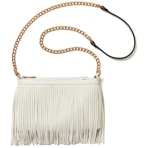 Flirting With Fringe White Chain-Strap Crossbody - Citi Trends Accessories - Front