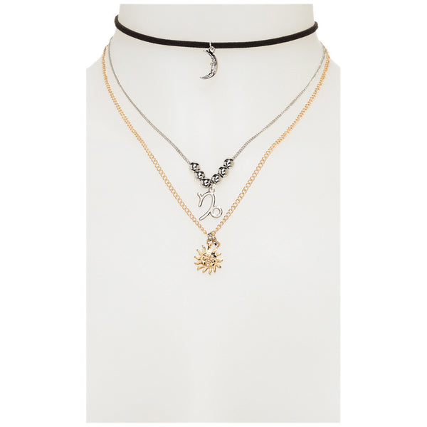 What's Your Sign Gold 3-Tier Capricorn Necklace - Citi Trends Accessories - Front