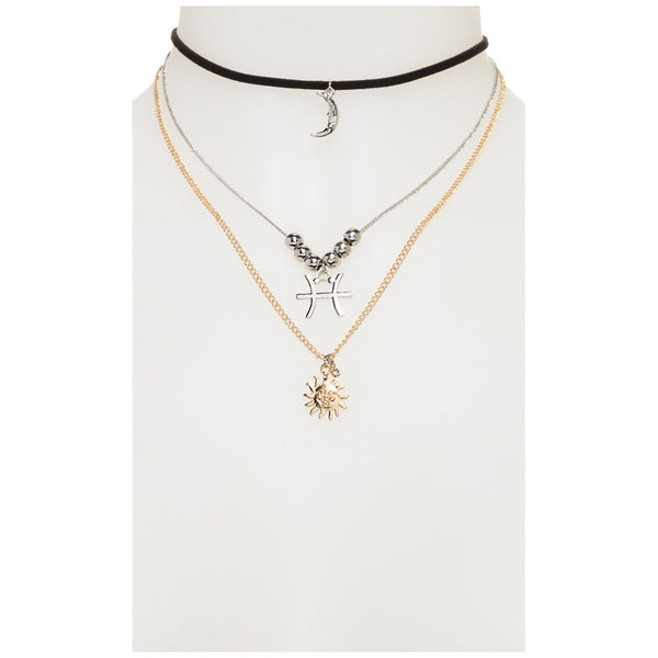 What's Your Sign Gold 3-Tier Pisces Necklace - Citi Trends Accessories - Front