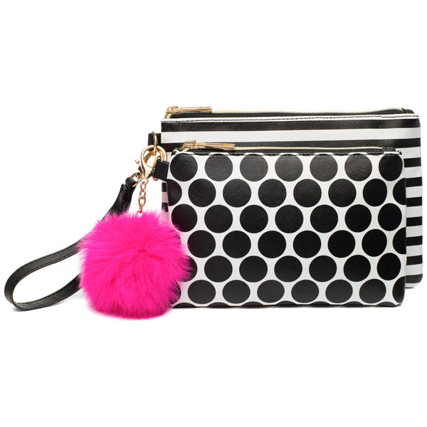 Go Full Circle 2-Piece Pom Pom Wristlet Set - Citi Trends Accessories - Front