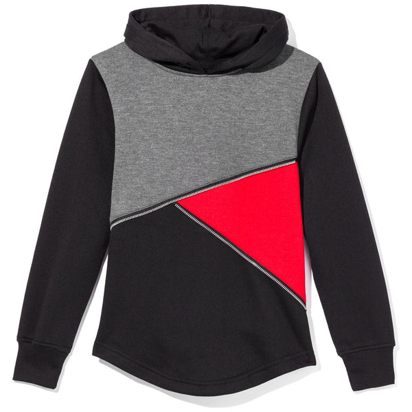 Just Zip It Boys Black/Red/Charcoal Colorbock Fleece Hoodie - Citi Trends Boys - Front